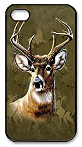 Camo Deer Polycarbonate Hard Case Cover for iPhone 4/4S Black