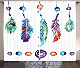 Cheap Ambesonne Boho Decor Curtains, Several Tribal Feather Collection in Psychedelic Hippie Universe Cosmos Harmony Forms, Living Room Bedroom Window Drapes 2 Panel Set, 108 W X 63 L Inches, Multi