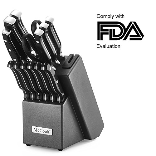 McCook MC25 14 Pieces FDA Certified High Carbon Stainless Steel kitchen knife set with Wooden Block, All-purpose Kitchen Scissors and Built-in Sharpener(Graphite Block)