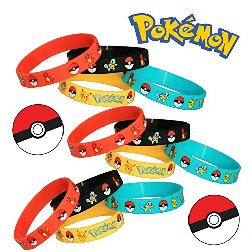 Gifts & Crafts Pokémon Party Supplies Silicone Wristband Bracelet Favors, 12 Count Photo