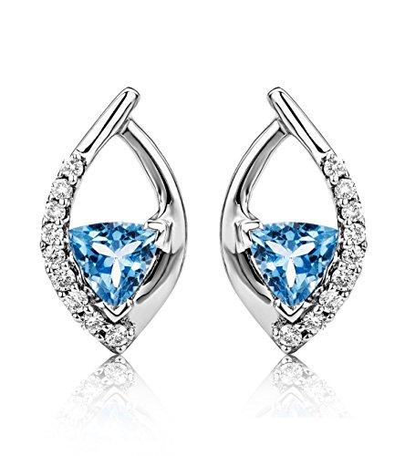 Miore - USP019E4W - Boucles d'Oreilles Femme - Or Blanc 375/1000 (9 carats) 1.41 gr - Topaze Bleue