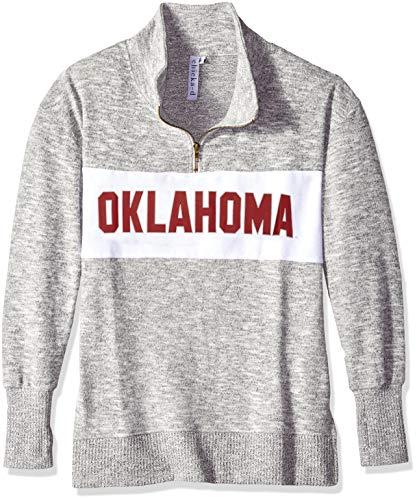 chicka-d University of Oklahoma Ladies Quarter Zip Sweater/Pullover/Sweatshirt - Oklahoma Sooners Women's Apparel