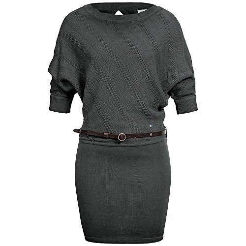 Feinstrickmuster Kleid Grau grau und ELA Strickkleid Damen khujo Damen Midikleid Kleid Gürtel mit ELA nq0pAxwFP