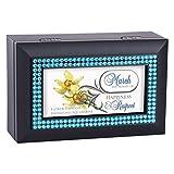 Cottage Garden March Aquamarine Daffodil Birthstone Black Jewelry Music Box Plays Tune Wonderful World