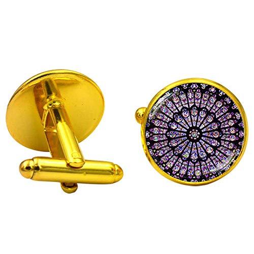 Commemorative Cufflinks - Urnanal Cufflinks, Notre Dame De Paris Men's Cufflinks Buttons Time Jewel Cufflinks Fashion Commemorative Cufflinks Button