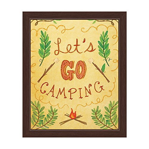 Yellow Framed Whimsical Let's Go Camping Woods Framed Canvas Art Print Wall Décor 8x10
