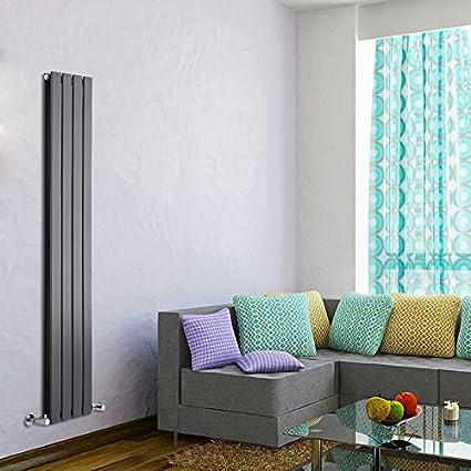 Milano Hudson Reed - Radiador de Diseño Vertical Doble - Antracita - 1600mm x 280mm x