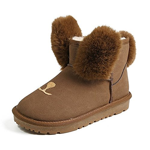 Shoes Gray Dark Black Boots Heel Grey ZHZNVX Boots Winter Fleece for Outdoor Brown HSXZ Women's Flat Snow UOEwS