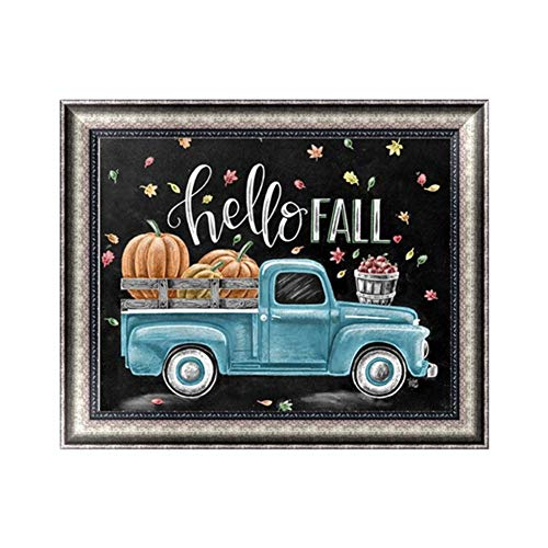 Apomelo 10×12 inches Diamond Painting Full Thanksgiving Green Truck Paint with Diamond Embroidery Dotz Kits Arts Crafts,Bumper Harvest Pumpkin (Best Paint For Painting Pumpkins)