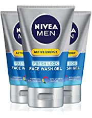 NIVEA Men Active Energy Face Wash Gel, For Energised & Cleansed Skin, with Vitamin+ Complex, 100ml