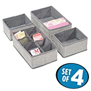 mDesign Fabric Baby Nursery Closet Organizer for Clothing, Socks, Shoes, Bibs, Diapers - Set of 4, 11 Compartments, Gray