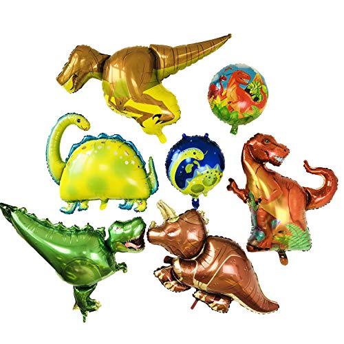 Balloon Dinosaurs x5 Plus Dinosaur Ball x2.Large Balloon for Party and Shop Decoration.Jungle Style for Birthday Party Etc.All in Ánimo Balloon. -