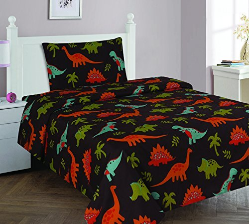 Elegant Home Dinosaurs Jurassic Park Design Multicolor Black Brown Blue Green 3 Piece Printed Twin Size Sheet Set with Pillowcase Flat Fitted Sheet for Boys / Kids/ Teens # Dinosaurs Brown 2 (Twin)