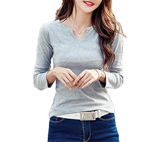 sensitives Women Camisa Feminina Cotton Female T Shirts Tops Feminine Casual Basic Tees Grey XL