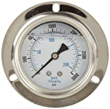 PIC Gauge PRO-204L-254P 2.5'' Dial, 0/3000 psi Range, 1/4'' Male NPT Connection Size, Front Flanged Panel Mount Glycerine Filled Pressure Gauge with a Stainless Steel Case, Brass Internals, Stainless Steel Bezel, and Polycarbonate Lens