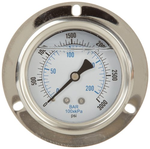 PIC Gauge PRO-204L-254P 2.5'' Dial, 0/3000 psi Range, 1/4'' Male NPT Connection Size, Front Flanged Panel Mount Glycerine Filled Pressure Gauge with a Stainless Steel Case, Brass Internals, Stainless Steel Bezel, and Polycarbonate Lens by PIC Gauges