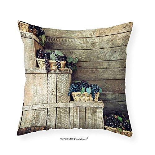 VROSELV Custom Cotton Linen Pillowcase Grapes Home Decor Various in Wooden Wicker Basket Ivy Viniculture Gourmet Organic Photo for Bedroom Living Room Dorm Brown Purple 14