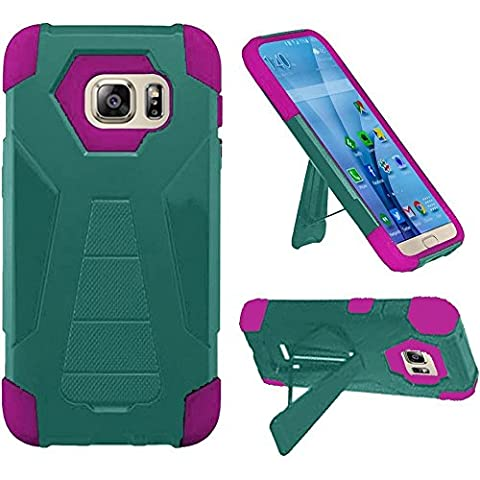 Teal/Hot Pink Galaxy S7 EDGE [PRIME TUF] Heavy Duty Armor Shield Hybrid Dual [Kickstand] Defender Built Case for Samsung Galaxy S7 EDGE