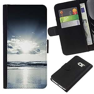 Be-Star la tarjeta de Cr¨¦dito Slots PU Funda de cuero Monedero caso cubierta de piel Para Samsung Galaxy S6 EDGE (NOT S6) ( Mar Vista al Mar Luz brillante )