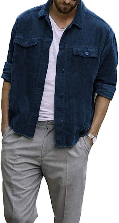 Camisa de Pana para Hombre Abrigo con Botones Abrigo de Manga Larga Ropa de Abrigo Suelta Abrigo Casual de Chaqueta de Ajuste Regular: Amazon.es: Ropa y accesorios