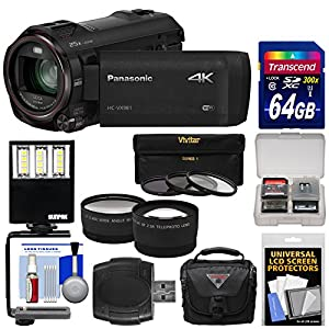 Panasonic HC-VX981 Wi-Fi 4K Ultra HD Video Camera Camcorder with 64GB Card + Case + LED Light + 3 Filters + Tele/Wide Lens Kit