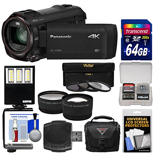 Panasonic HC-VX981 Wi-Fi 4K Ultra HD Video Camera Camcorder with 64GB Card + Case + LED Light + 3 Filters + Tele/Wide Lens Kit by Panasonic