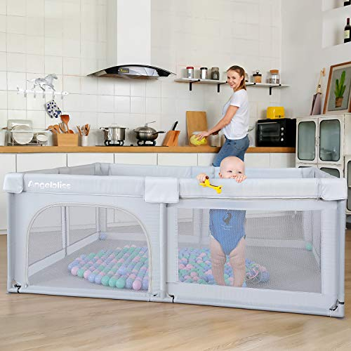 5137hYkBhaL - ANGELBLISS Baby Playpen, Playpens For Babies, Kids Safety Play Center Yard Portable Playard Play Pen With Gate For Infants And Babies,Extra Large Playard, Indoor And Outdoor, Anti-Fall Playpen(Gray)