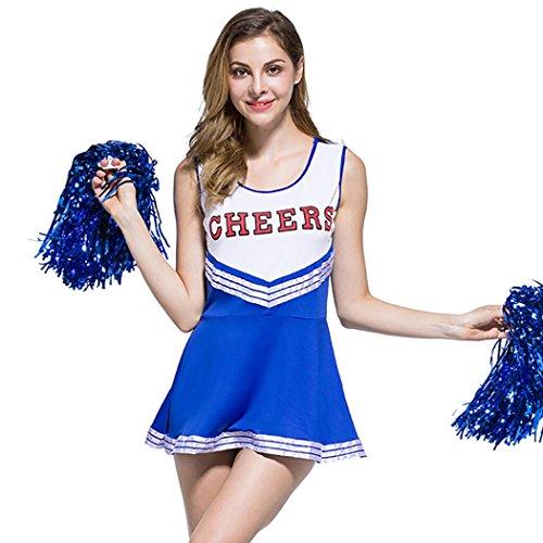 Ladies Sexy Varsity High School Cheer Girl Sexy Cheerleader Costume Uniform Halloween Fancy Dress Costume -