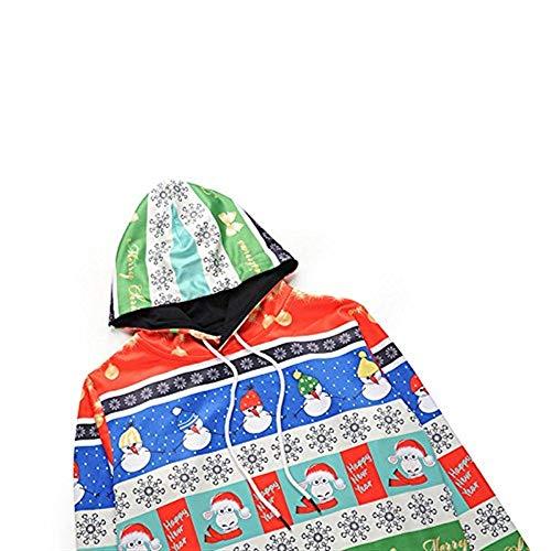 Cappuccio Cappuccio Cappuccio 3D Chic con Ragazza Ragazza Ragazza Stampa Maglione Vintage Camicetta Cappuccio Eleganti Sweatshirts Lunghe Donna Natale Maniche Invernali con Relaxed Giovane Arancia Moda Hoodies Incappucciato Felpe xFEzw