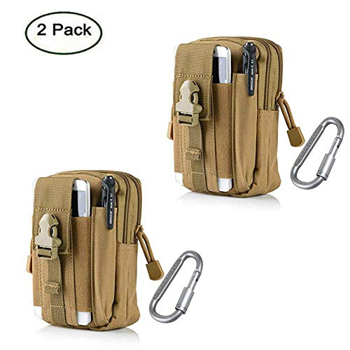 ZJtech Tactical Molle Pouch Compact EDC Utility Gadget Waist Bag Pack with Cell Phone Holster for iPhone 6 Plus (2 Pack - Tan) (Military Vest Attachments)