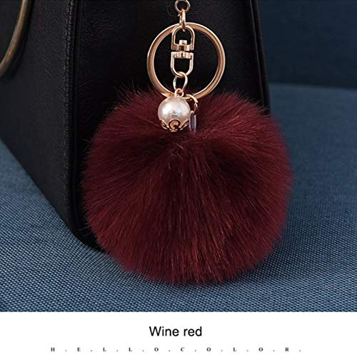 Womens Key Chains 8CM Pom Pom Ball Keychain for Women Bag Purse Car Styling Key Ring Chains Fluffy Artificial Rabbit Fur Keychain Pompon Keychain by ptk12 (Image #1)