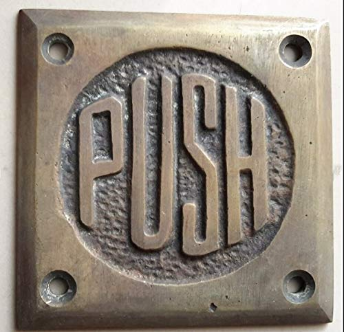 Art Deco Door Push Sign Rare Unique Antique Solid Brass 2 1/2