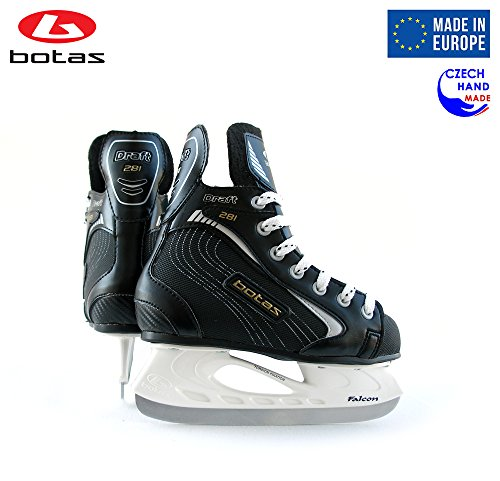 Botas - Draft 281 - Kids Ice Hockey Skates | Made in Europe (Czech Republic) | Color: Black, Size Child 10