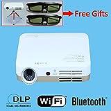 Free Tripod 2pcs 3D glasses 7000 ledLux 1800 ansilux 1080P Android WiFi Smart Led 3D Home theater TV Projector Projektor Full HD Portable Video