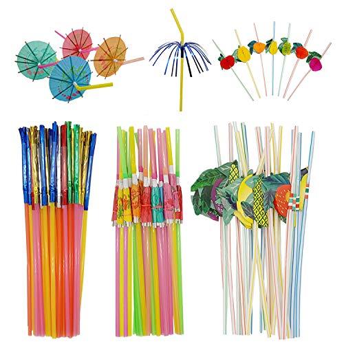 Kbraveo 150Pcs 3Kinds Fruit Straws Umbrella Straws Glitter Fringed Metallic Straws for Luau Hawaii Beach Party