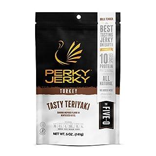 Perky Jerky Gluten Free Tasty Teriyaki Turkey Jerky, 5 Ounce