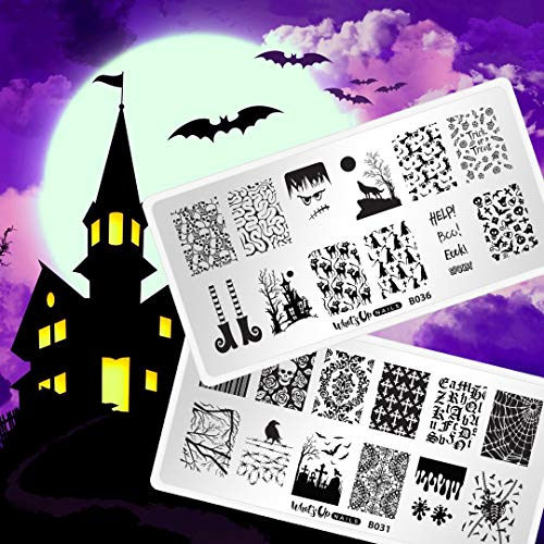 Whats Up Nails - Halloween Stamping Plates 2 pack (B031, B036) Stamping Plates for Nail Art Design -