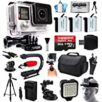 GoPro HERO4 Hero 4 Black Edition 4K Action Camera Camcorder with 64GB MicroSD, 3x Battery, Charger, Car Mount, Large Case, Handle, Tripod, LED Video Light, Head Helmet Strap, Cleaning Kit (CHDHX-401)