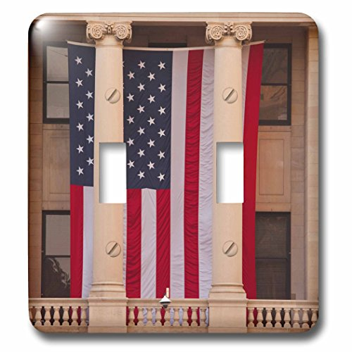 3dRose Danita Delimont - Flags - USA, GA, Savannah, Savannah City Hall displaying the American flag. - Light Switch Covers - double toggle switch - Outlets Savannah Ga