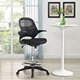 Modway Advance Drafting Chair In Black - Reception Desk Chair - Tall Office Chair For Adjustable Standing Desks - Drafting Table Chair - Flip-Up Arms…