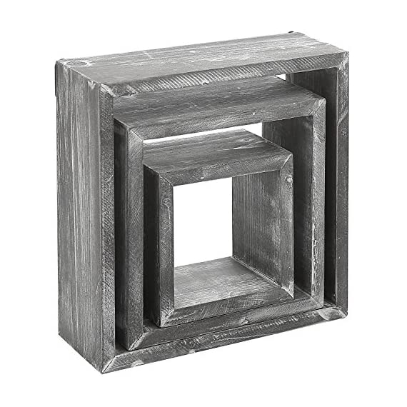 MyGift Barnwood Gray Wall Mounted Wood Shadow Boxes, Square Floating Display Shelves, Set of 3 - Set of 3 freestanding or wall-mountable wooden shadow boxes with a rustic barnwood-gray finish. Can be used to showcase keepsakes, collectibles, and awards, or for creating unique decorative displays. Each display shelf comes in a different size and can be grouped together to created a decorative wall collage or used separately. - wall-shelves, living-room-furniture, living-room - 5137jQlnDeL. SS570  -