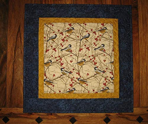"""Chickadee Bird Quilted Table Topper Wall Hanging, 21 x 21"""", Reversible 100% cotton fabric (Quilt Holidays Cotton Fabric)"""