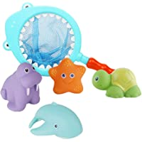 Toyvian Baby Bath Toys Squeeze Sound Animal Water Bath Squirter Shark Preying Bathtime Temperature Color Fun Toys with Fish-Landing Net (Random Color) - 5pcs