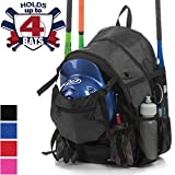 Athletico Advantage Baseball Bag - Baseball Backpack with External Helmet Holder for Baseball, T-Ball & Softball Equipment & Gear for Youth and Adults | Holds Bat, Helmet, Glove, Shoes (Black)