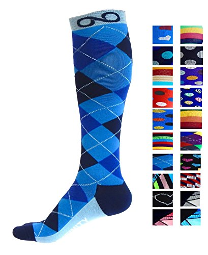 Compression Socks (1 pair) for Men & Women by INFINITY - BEST for Running, Nurses, Shin Splints, Flight Travel, & Maternity Pregnancy - Boost Athletic Stamina & Recovery (Blue Argyle, L/XL)