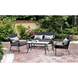 Mainstays* 4-Piece Patio Conversation Set, Seats 4 in Grey with Leaves For Sale