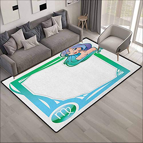(Outdoor Patio Rug,Zodiac Virgo The Sixth Sign from The Series of Zodiac Frames in Cartoon Style with a Girl,Anti-Slip Doormat Footpad Machine Washable,5'10