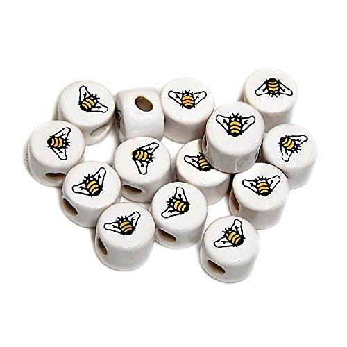HONEY BEE CERAMIC BEADS CRYSTALLINE PERUVIAN 8mm DISC YELLOW/BLACK - Bee Bead
