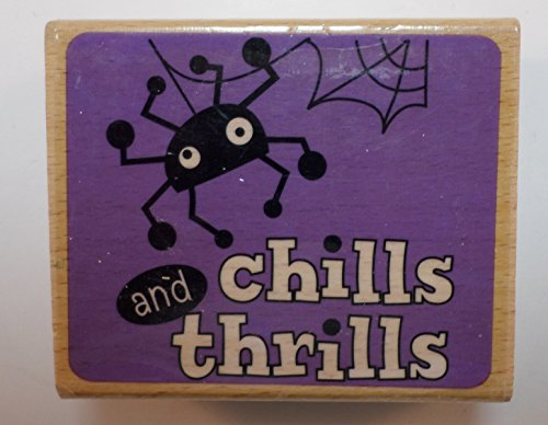 Studio G Chills and Thrills Spider Halloween Themed Wooden Rubber Stamp