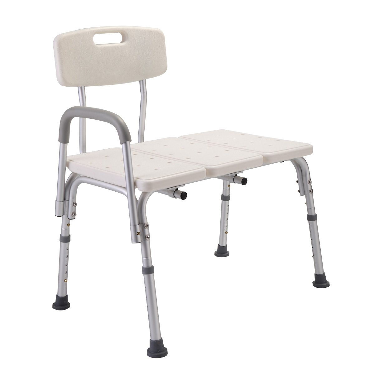 JAXPETY Medical Heavy Duty BARIATRIC Plastic SEAT Adjustable Bath and Shower Transfer Bench with Reversible Backrest